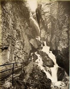 Switzerland Meiringen Alpbach Gorge Waterfall Bernese Alps Old Photo Sommer 1890