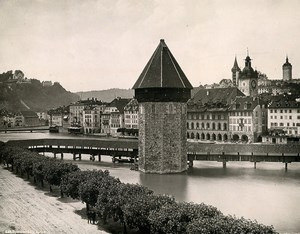 Switzerland Lucerne Covered Bridge Kapellbrücke Old Photo Schroeder 1890