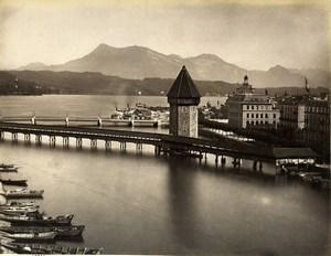 Switzerland Lucerne Covered Bridge Kapellbrücke Old Photo Sommer 1890