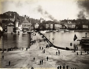 Switzerland Lucerne Panorama Busy Street Old Photo Sommer 1890