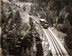 Switzerland Rigi Railway Line Train Old Photo Sommer 1890