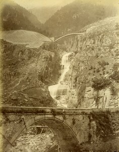 Switzerland Gotthard Gotthardbahn Bridge & Falls Old Photo Bosetti 1890
