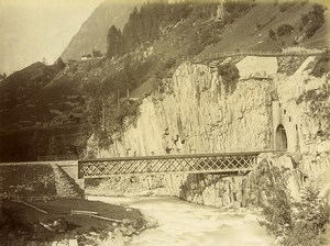 Switzerland Gotthard Gotthardbahn Bridge Tunnel Wattingen Old Photo Bosetti 1890