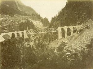 Switzerland Gotthard Gotthardbahn Bridge on Mayen Reuss Old Photo Bosetti 1890