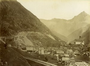 Switzerland Gotthard Gotthardbahn Wasen Bridge Old Photo Bosetti 1890