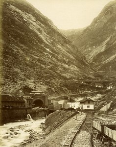 Switzerland Gotthard Gotthardbahn Tunnel Goschenen Old Photo Bosetti 1890