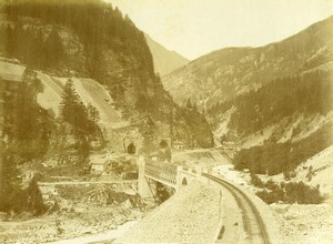 Switzerland Gotthard Gotthardbahn Tunnel of Polmengo Old Photo Bosetti 1890