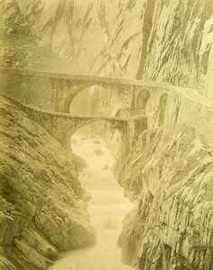 Switzerland Gotthard Road Devil Bridge Old Photo Bosetti 1890