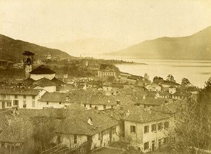 Italy Lake Lago Maggiore Luino Panorama Old Photo Bosetti 1890