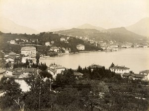 Switzerland Lugano Panorama Lake Old Photo Nessi 1890