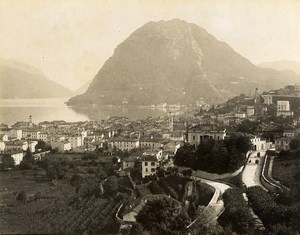 Switzerland Lugano General View Lake Old Photo Nessi 1890