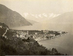 Italy Menaggio Panorama Lake Como Mountains Alps Old Photo Nessi 1890