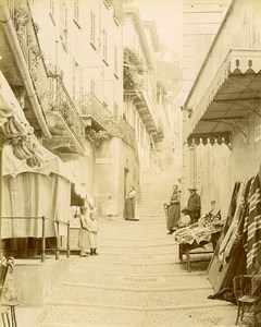 Italy Bellagio Via Serbelloni Narrow Street Shops Old Photo Bosetti 1890