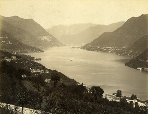 Italy Lake Como Panorama Lago di Como Old Photo Nessi 1890