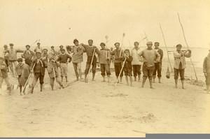 France Baie de Somme Saint Valery sur Somme Beach Net Fishermen Old Photo 1885