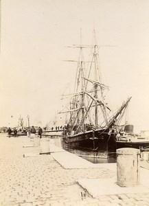 Romania Galati Galatz Wharfs Sailboat Old Photo 1896