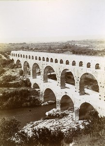 France Bridge Pont du Gard River Aqueduct Roman Old Photo Jusniaux 1895