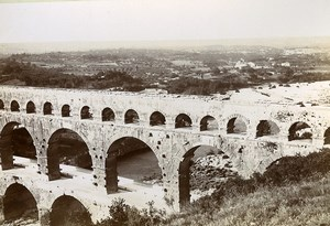 France Bridge Pont du Gard River Roman Aqueduct Old Photo Jusniaux 1895