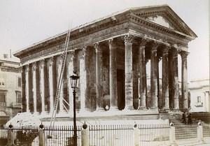 France Nimes Maison Carrée Roman temple Old Photo Jusniaux 1895