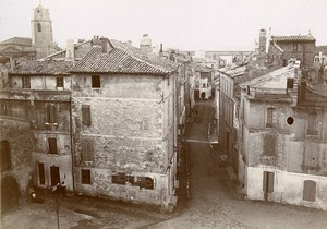 France Arles narrow street view taken from Amphitheatre Old Photo Jusniaux 1895