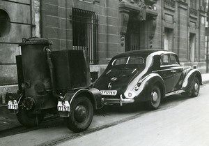 France Paris Luxury Wood Gas Automobile Transportation Old Photo Aubry 1940