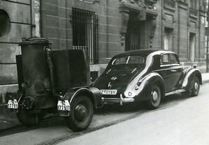 France Paris Luxury Wood Gas Automobile Transportation Old Photo Aubry 1940