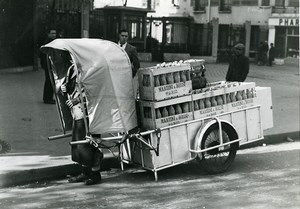 France Paris Martini Alcohol Delivery man-pulled vehicle Old Photo Aubry 1940