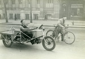 France Paris Urban Transports Pedal Car Tricycle Inventor Old Photo Aubry 1940