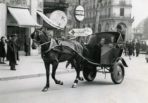 France Paris Horse Cab Taxi Le Matin Newspaper Old Photo Aubry 1941