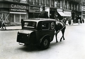 France Paris Urban Transports Horse Converted Automobile Old Photo Aubry 1941