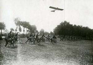 France Early Aviation Military Maneuvers Bicycle infantry Old Photo Branger 1910