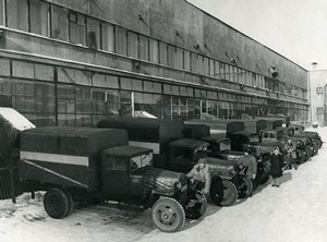 Russia Moscow production Pravda newspaper Delivery Trucks Old Photo 1947