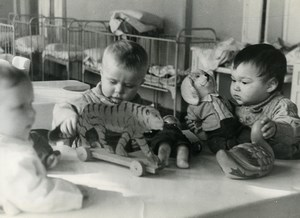 Russia Moscow newspaper Pravda Nursery Children Playing Old Photo 1947