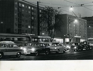 Germany Leipzig Georgiring Busy Street by night Cars Old Photo 1964