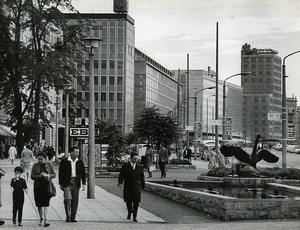 East Germany Leipzig Georgiring Street Autumn Fair Old Photo 1965