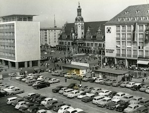 East Germany Leipzig Market Place Car Park Augustusplatz Automobiles Photo 1965