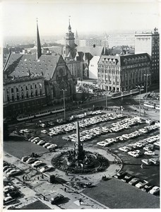 East Germany Leipzig Church Car Park Augustusplatz Automobiles Old Photo 1966