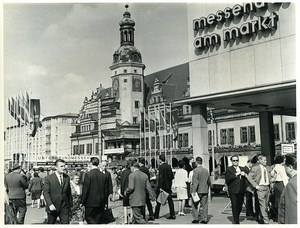 East Germany Leipzig Automn Fair Augustusplatz Pedestrians Old Photo 1966