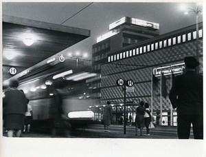East Germany Leipzig am Bruhl street Konsument Store Tramway by night Photo 1968