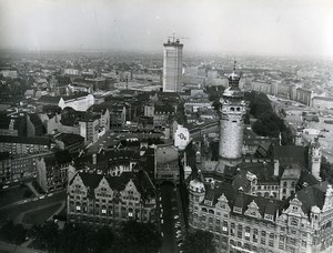 East Germany Leipzig aerial view of center city Town Hall Old Photo 1969