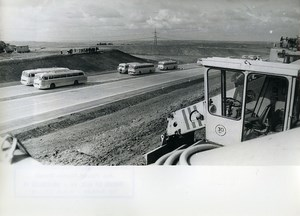 East Germany Highway construction Leipzig Dresden Bus Old Photo 1971