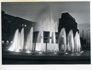 East Germany Berlin Strausberger Platz Fountain by Night Old Photo 1967