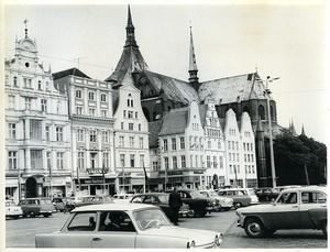 East Germany Rostock Neuer Markt Ernst-Thälmann-Platz Marienkirche Photo 1966