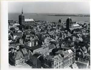 East Germany panorama of Stralsund Strelasund Baltic Sea Old Photo 1967