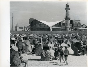 East Germany Rostock Warnemünde Lighthouse Beach Wicker Chairs Old Photo 1969