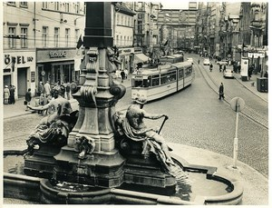 East Germany Erfurt Tramway & fountain city center Old Photo 1971