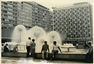 East Germany Dresden Prager Strasse Fountain Hotel Old Photo 1970