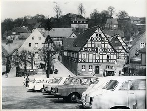 East Germany Elbsandsteingebirge Hohnstein timbered house Old Photo 1969