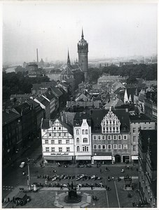 East Germany Wittenberg view from church tower Martin Luther Old Photo 1967