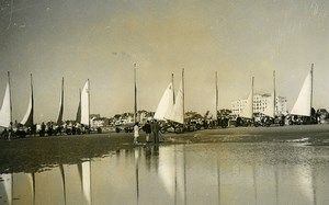France Le Touquet Beach Sand Yacht Race Land Sailing Old Photo 1937